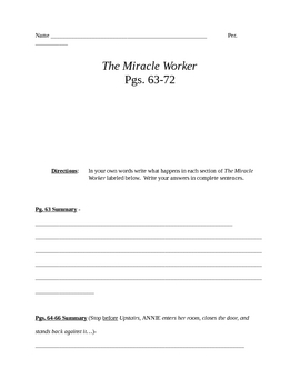 The Miracle worker (by WIlliam Gibson) Summary Sheet