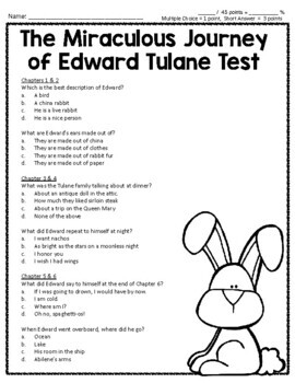 The Miraculous Journey of Edward Tulane Test: Whole Book Quiz with Answer Key