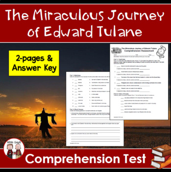 The Miraculous Journey of Edward Tulane Comprehension Test Assessment