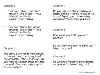 The Miraculous Journey of Edward Tulane Higher Order Thinking Questions