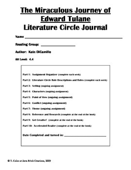 The Miraculous Journey of Edward Tulane Literature Circle Journal Student Packet