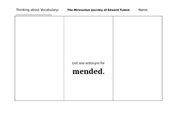 The Miraculous Journey of Edward Tulane Vocabulary Ch. 20 to 27