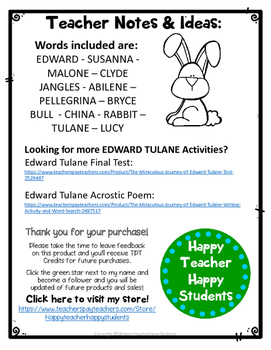The Miraculous Journey of Edward Tulane Word Search Activity