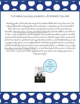 The Miraculous Journey of Edward Tulane - guided discussion questions and vocab