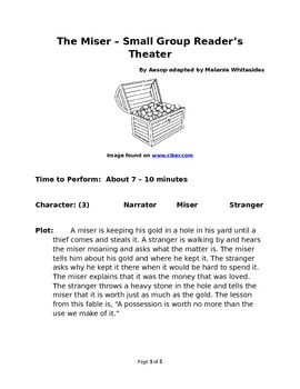 The Miser - Small Group Reader's Theater by Aesop