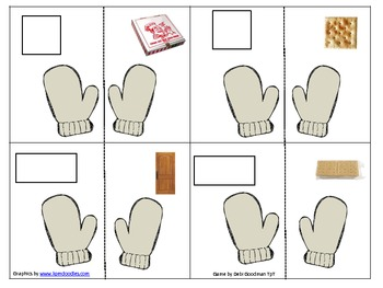 The Mitten 2-d and 3-d real word shape match and worksheet