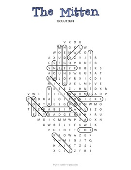 The Mitten Word Search Puzzle