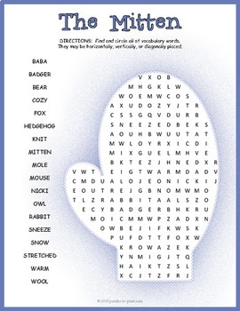 The Mitten Word Search Puzzle By Puzzles To Print Tpt