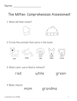 The Mitten Assessment and Vocabulary Cards