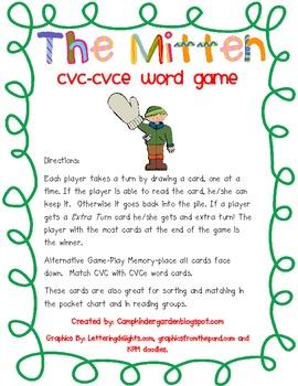 The Mitten CVC -CVCe Word Card Game