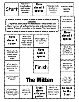 """""""The Mitten"""" Comprehension Game Board"""