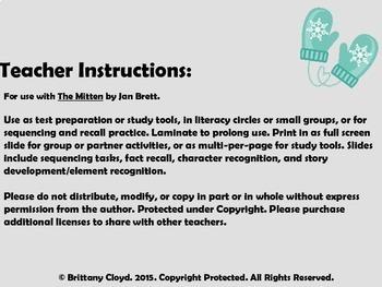 The Mitten Jan Brett Task Literacy Cards Literature Circles Sequencing Activity