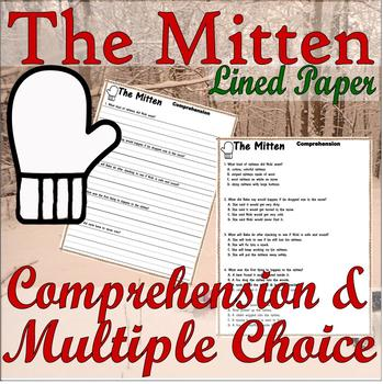 The Mitten Jan Brett : Winter Reading Comprehension & Multiple Choice Questions