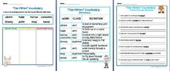 """The Mitten"" Literacy & Math Companion / Activity Pack Jan Brett Winter"