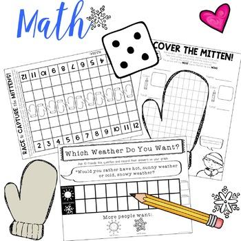 The Mitten : Math Fun!   3 Great Winter / Mitten Themed Games!