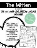 The Mitten: One Page Speech & Language Data Sheet
