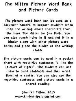 The Mitten Picture Word Bank and Picture Cards