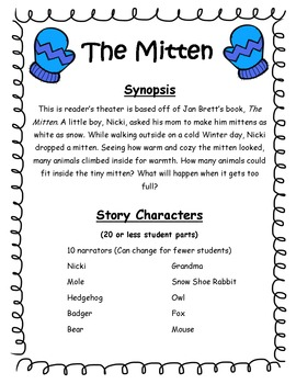 The Mitten Readers Theater and Literacy Activities