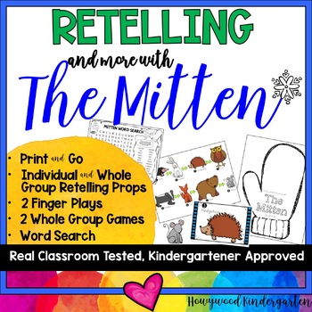 The Mitten : Retelling ...& MORE: finger plays, games, & word search!