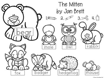 image relating to The Mitten Printable Book known as The Mitten Retelling Printables (E-book Recreation)