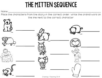 The Mitten Sequence Cards- Updated 1/2014