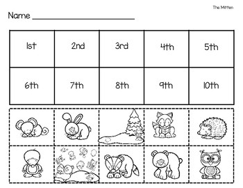 graphic relating to The Mitten Story Printable called The Mitten Series Worksheets Coaching Components TpT