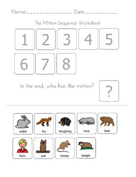 graphic regarding The Mitten Story Printable referred to as The Mitten Collection Worksheets Schooling Products TpT
