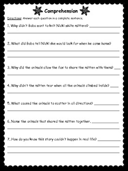 The Mitten Unit: Vocabulary, Comprehension, Sequencing, and More!