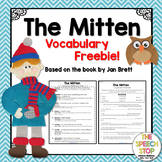 The Mitten Vocabulary Reference Sheet and Context Clue Worksheet