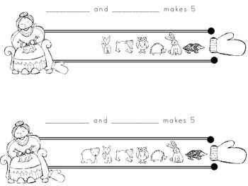 The Mitten-Ways to make 5 using the rekenrek student booklet