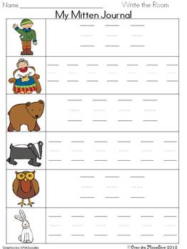 The Mitten Write / Stamp the Room Activity Pack
