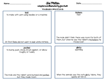 The Mitten by Jan Brett Vocabulary Word Cards