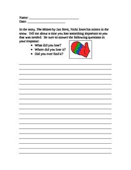 The Mitten by Jan Brett (Writing Prompt)