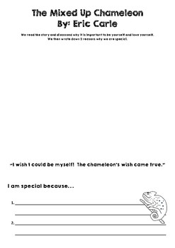 The Mixed Up Chameleon by Eric Carle - How I am special