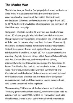 The Modoc War Handout