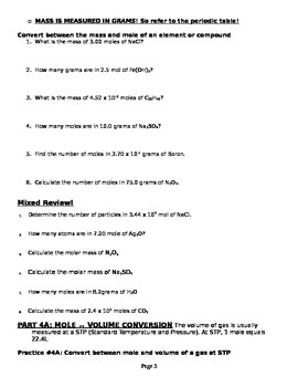 The Mole Homework Packet