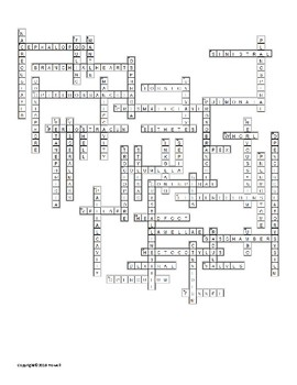 The Molluscs Vocabulary Crossword for Zoology