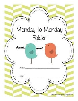 The Monday to Monday Folder {Home/School Homework System}