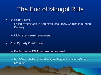 The Mongol Empire and Kublai Khan Lesson Plan, Handout.  History 101