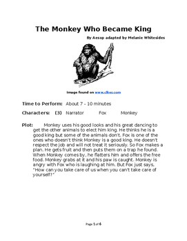 The Monkey Who Became King - Small Group Reader's Theater by Aesop
