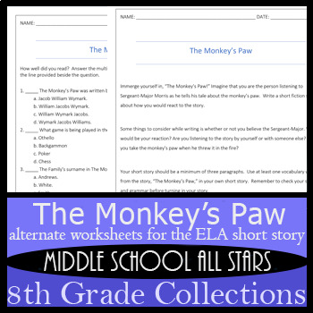 The Monkey's Paw - Alternative Assignments: Writing, Vocabulary, and more