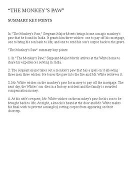 The Monkey's Paw Summary (key points)