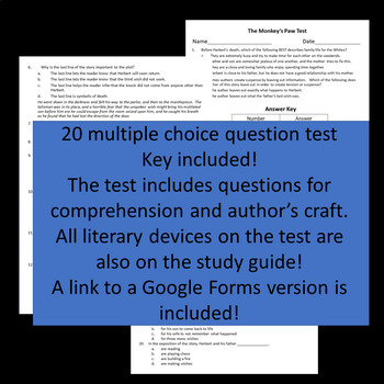 The Monkey's Paw Test ~ Printable and Google Forms