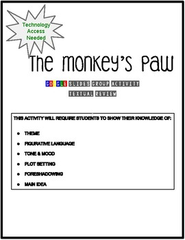 The Monkey's Paw Text Review Group Activity