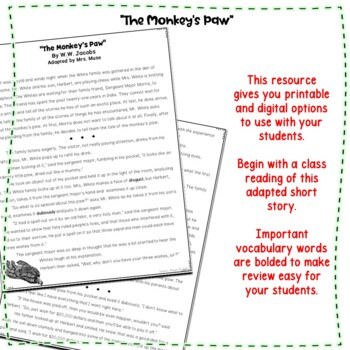 The Monkey's Paw Digital Unit for Google Classroom