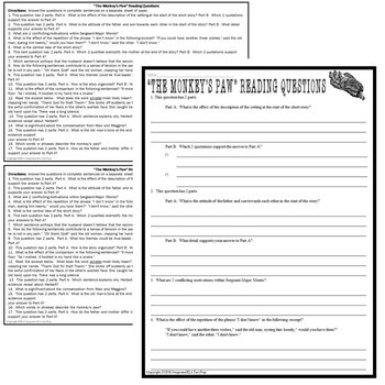 The Monkey's Paw Short Story by W. W. Jacobs: Common Core ELA Test Prep Quiz