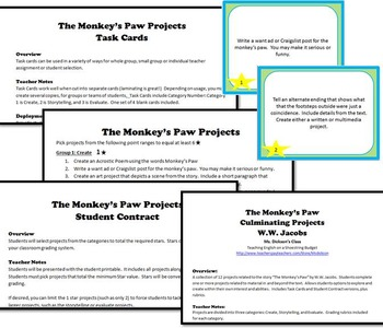 The Monkey's Paw Culminating Projects [Task Cards] W.W. Jacobs