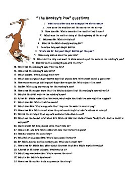 The Monkey's Paw - Study Questions, Writing Frame, Plot Points
