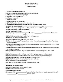 The Monkey's Paw by W.W. Jacobs Complete Guided Reading Worksheet