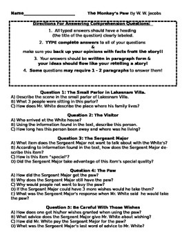 The Monkey's Paw by W.W. Jacobs Comprehension Questions